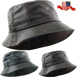 PU Leather Faux Bucket Hat Thick Material High Quality One S