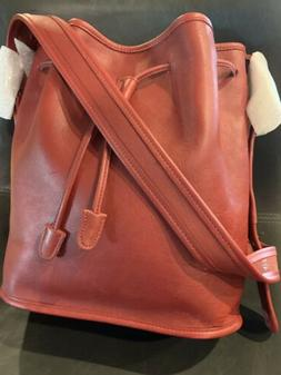 Coach Rare Vintage New 9952 Red Leather Drawstring Bucket Ha