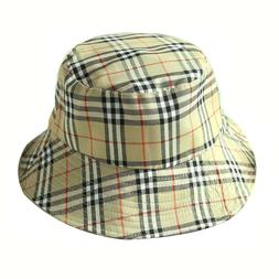 Summer Sunshade Cap Foldable Flat Top Plaid Fisherman Bucket