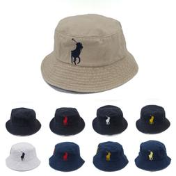 Unisex Men Embroidery Bucket Hat 9 Colors Big Pony Polo Numb