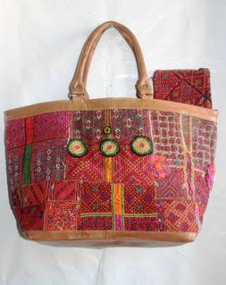 Vintage Banjara Bucket Bag Indian Leather Embroidered Should
