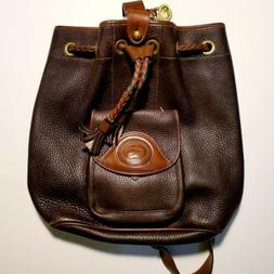 Vintage Dooney and Bourke All Weather Leather Drawstring Buc