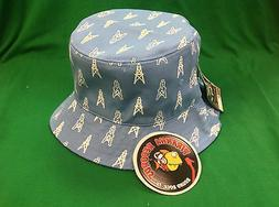 White Oilers Printed Baby Blue Full-Brim Bucket Hat ONE SIZE