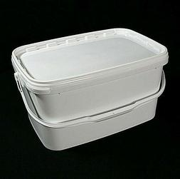 White Rectangular 5.7 Litre Tamper Proof Buckets with Lids