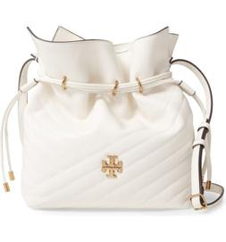 Tory Burch Women's Kira Ivory White Leather Kira Bucket Bag