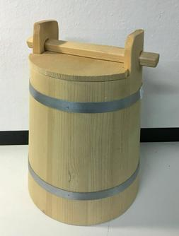 Wooden Vat with Lid Crock Fermentation Food Preserve Bucket