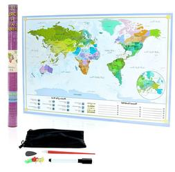 XL Scratch Off Map of The World – Bucket List Features | W